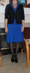 Blue dress: JC Penney. Black cardigan: Target. Black tights: Target. Black shoes: Payless.