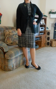 Dress: Merona for Target. Black sweater cardigan: Old Navy. Rose pin: great-grandmother. Black pumps: Fioni for Payless.