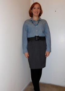 Chambray shirt: Old Navy. Blue bauble necklace: Elder Beerman's. Black belt: unknown. Gray skirt: (thrifted.) Black over-the-knee socks: Dots.
