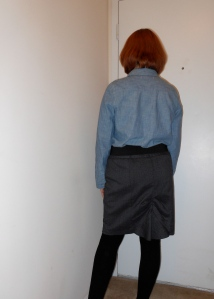 Chambray shirt: Old Navy. Black belt: unknown. Gray skirt: (thrifted.) Black over-the-knee socks: Dots.