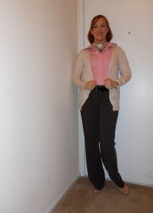 Pink button up: (thrifted.) Cardigan: Old Navy. Scarf: (unknown.) Black belt: Wal-Mart. Brown pants: (unknown.) Nude pumps: Target. Bronze hoops: Charlotte Russe. Gold Watch: Wal-Mart.