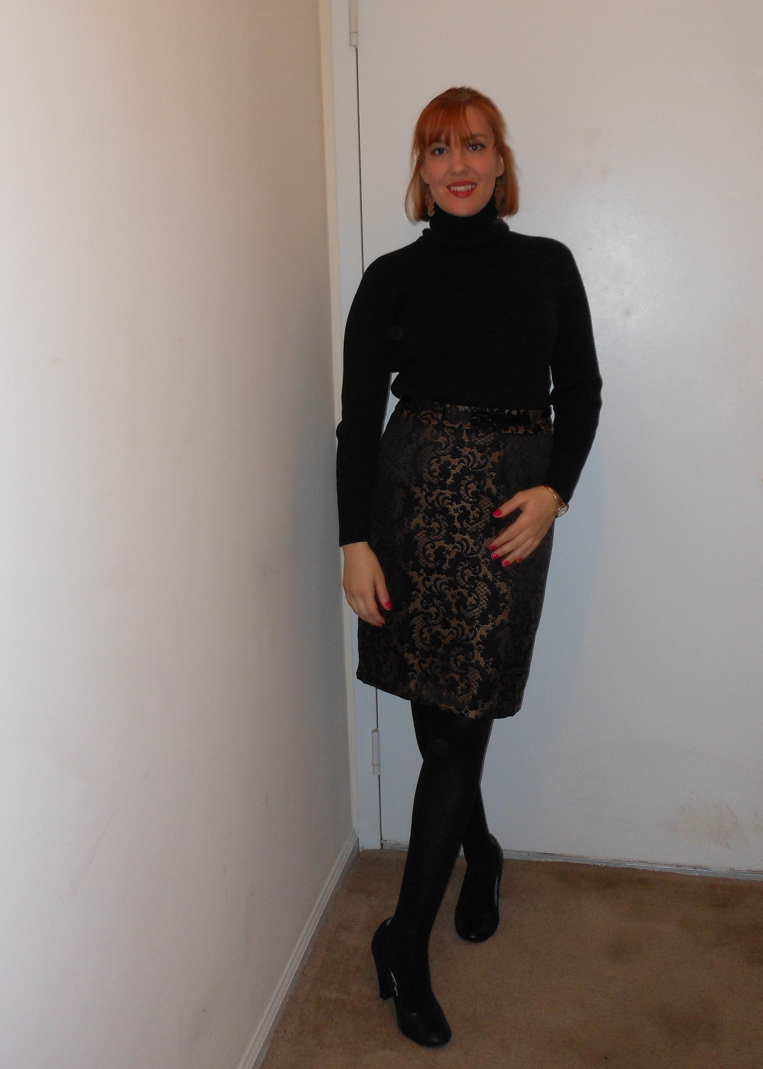 Sweater dress with leggings